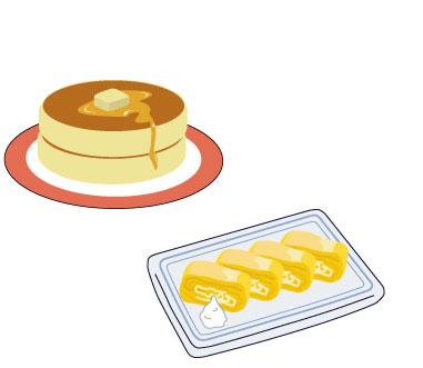 ホットケーキと卵焼き